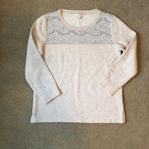 Jcrew lace sweatshirt. Size small.